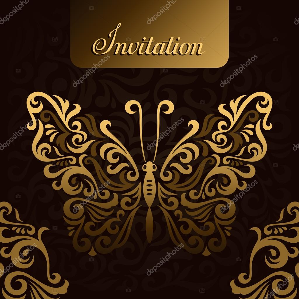 Invitation with golden butterfly