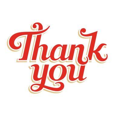 Thank You hand lettering, vector inscription clip art vector