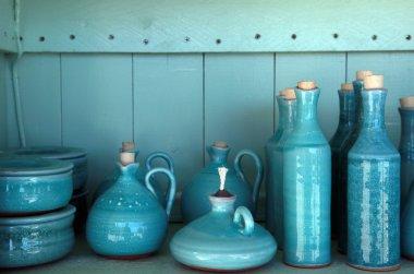 Turquoise glazed ceramic pitchers, Crete , Greece