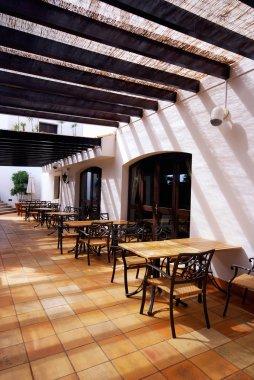 Open terrace cafe in mediterranean town
