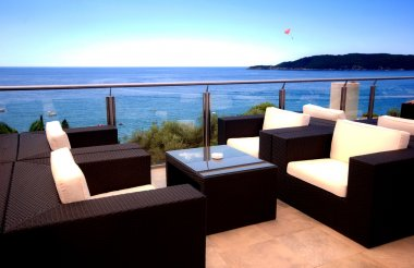 Beautiful terrace view of Mediterranean seascape