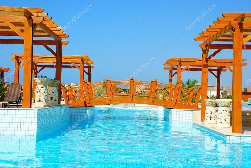 Pool and foot-bridge