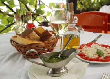 Dinner in outdoor restaurant