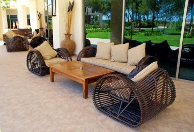 Outdoor furnitures on luxury resort