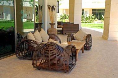 Wicker outdoor furnitures on luxury resort