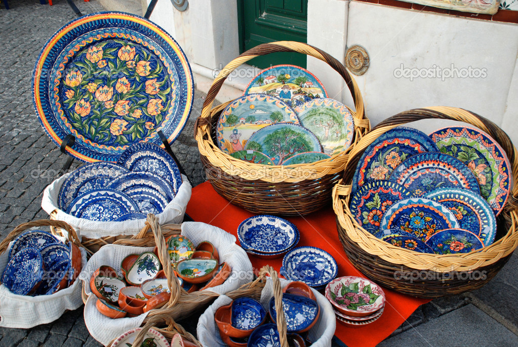 Traditional mediterranean pottery on the street market \u2014 Stock Photo : mediterranean dinnerware sets - pezcame.com