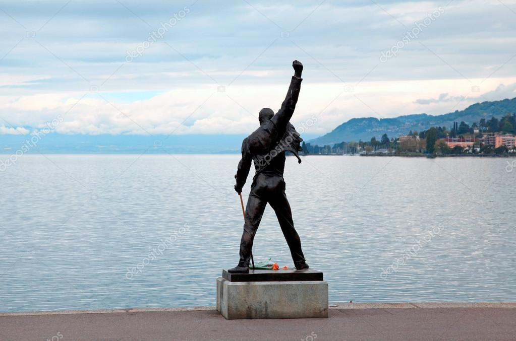 Freddie Mercury statue on waterfront of Geneva lake, Montreux, S