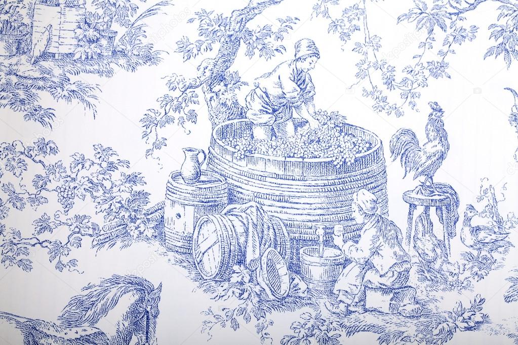 Antique Blue And White French Baroque Pattern Wallpaper Depicts Pastoral Men Women Wine Making Photo By Felker