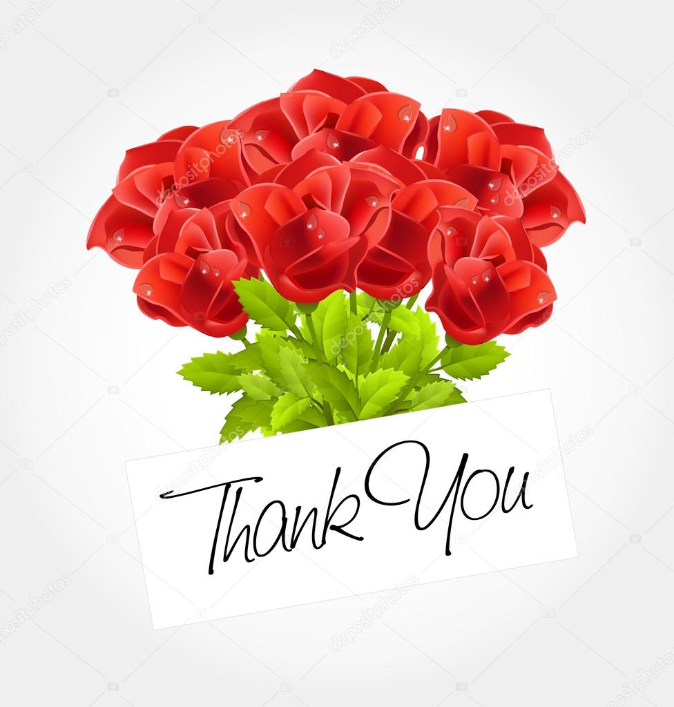 thank you - Bouquet of roses — Stock Vector © barcova.natalia #29743185