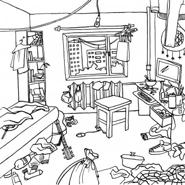 Illustration of interior of a bachelor or a single woman