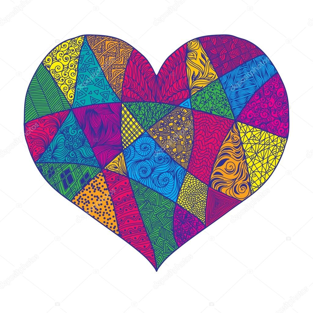 Patchwork lace heart hand-drawn background