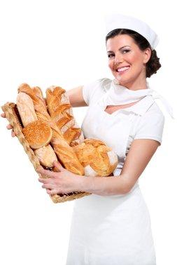 Young beautyful woman baker