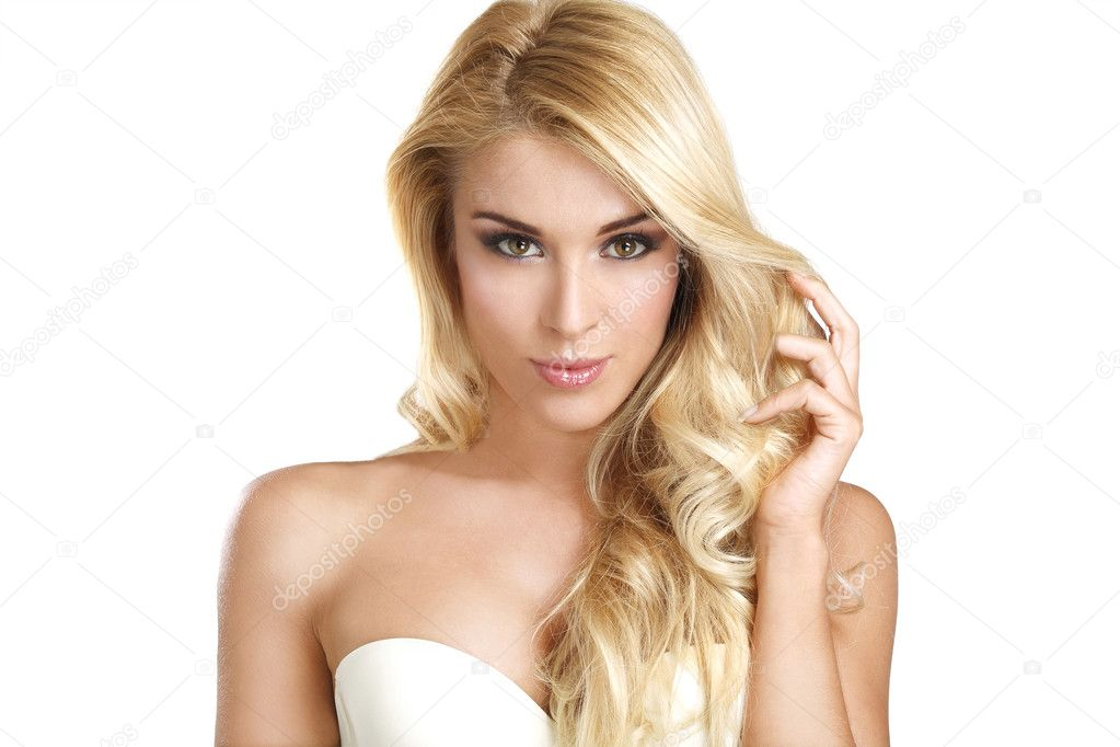 young beautiful woman showing her blonde hair