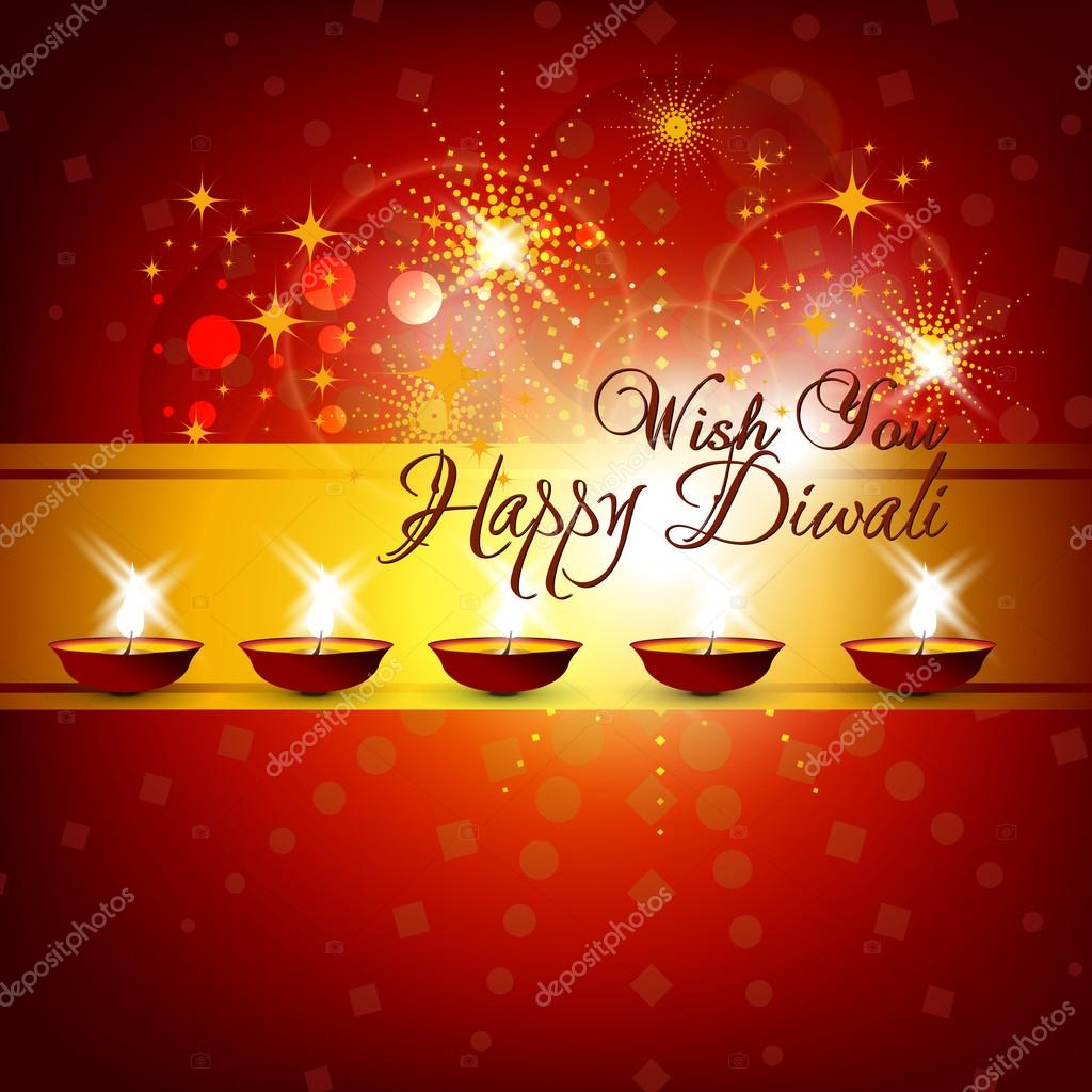 Beautiful vector diwali card design in shiny glowing red color b