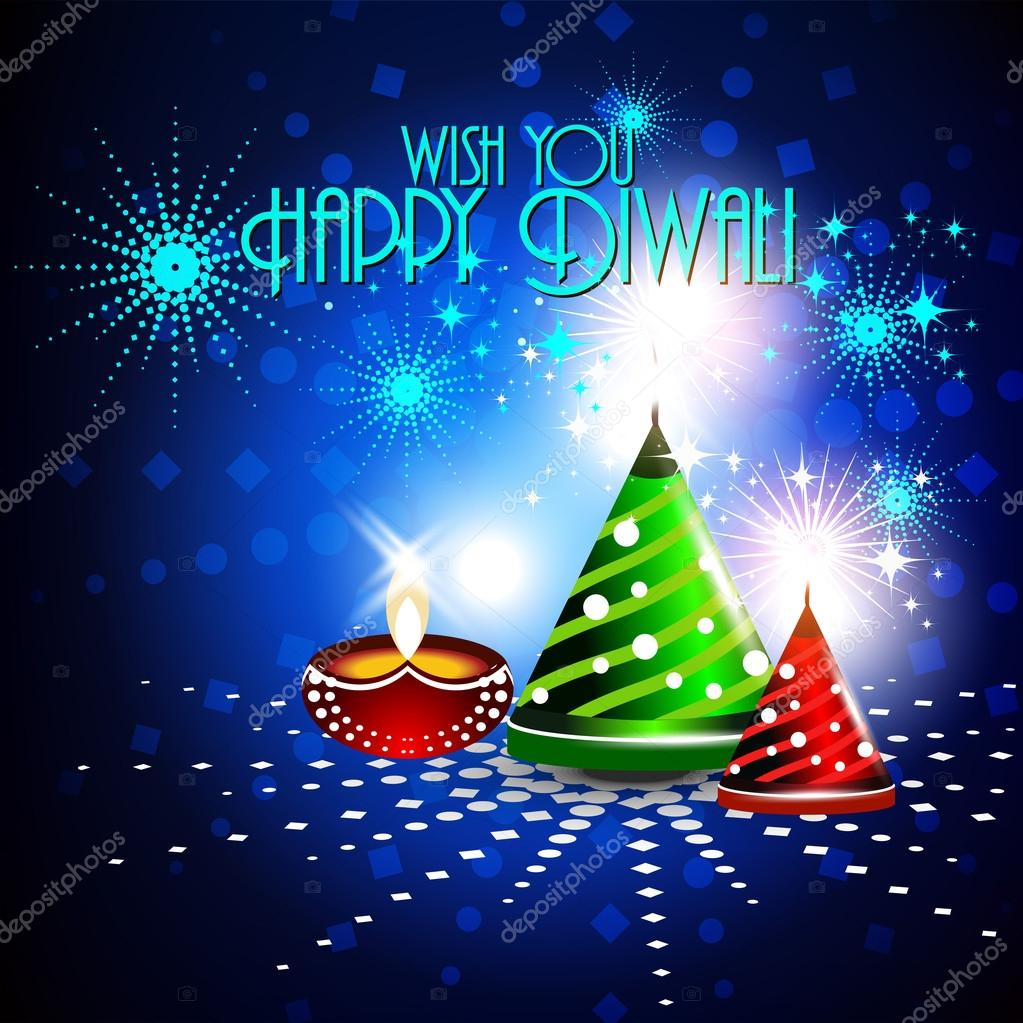 Colorfull crackers in shiny glowing blue color for diwali card d
