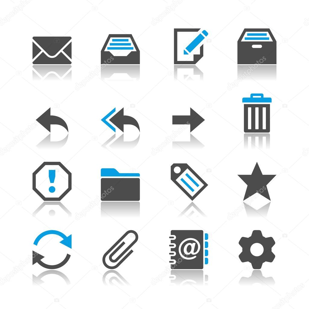 Email icons - reflection theme
