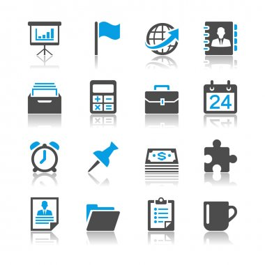 Business and office icons - reflection theme