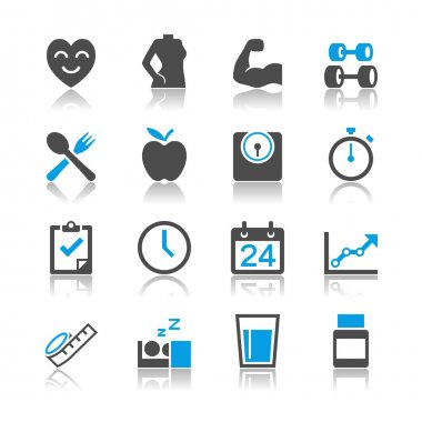 Healthcare icons reflection theme
