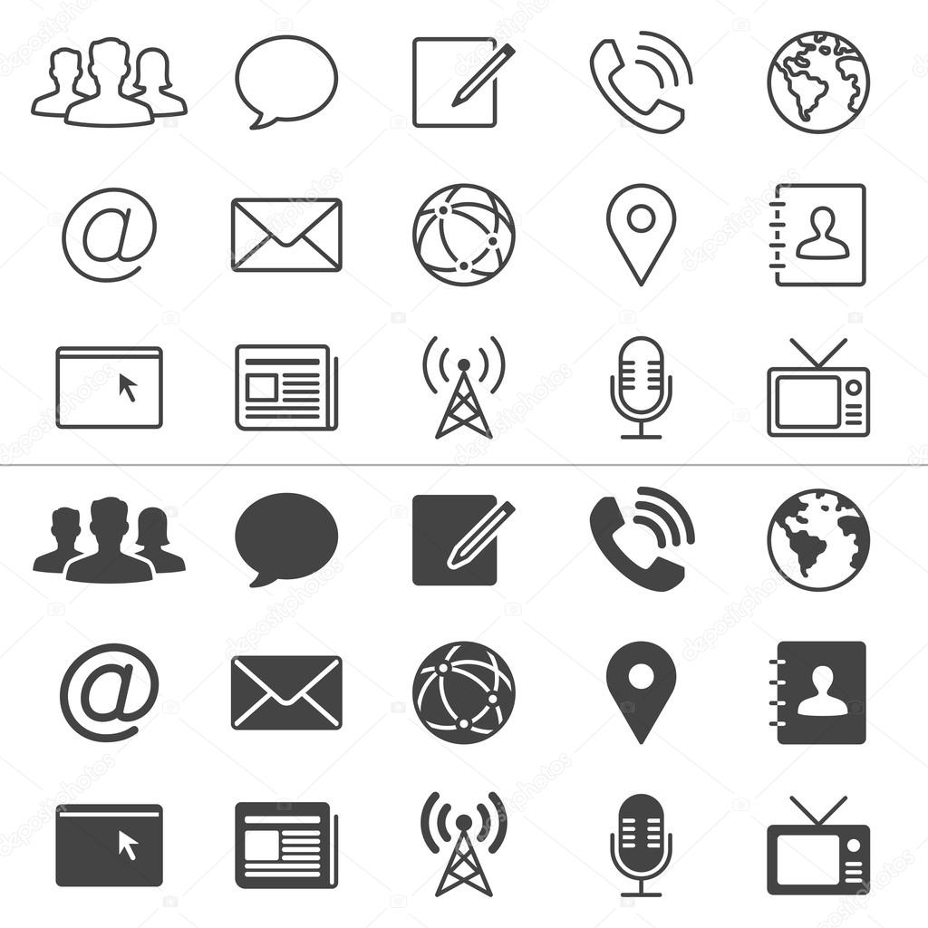 Media and communication thin icons