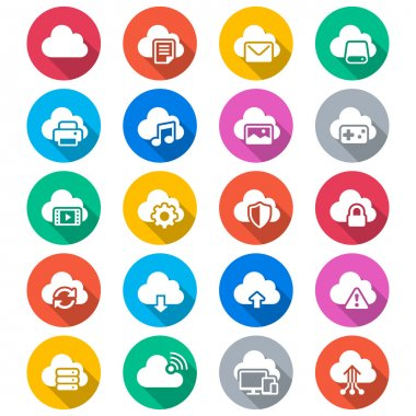 Cloud computing flat color icons