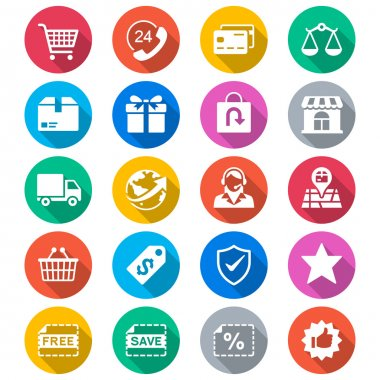 E-commerce flat color icons