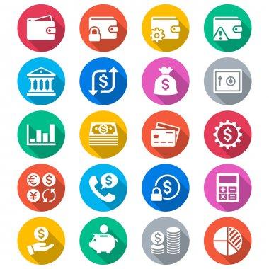 Financial management flat color icons