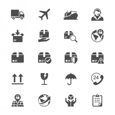 Logistics and shipping flat icons