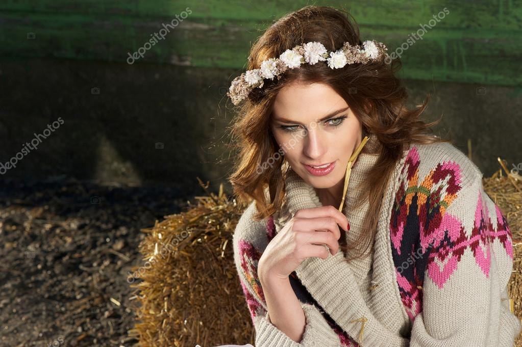 Beautiful European Girl on the Farm