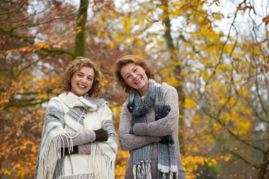 Portrait of Women Friends in Autumn