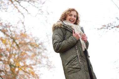 Beautiful Middle Aged Woman with a Smile in Winter
