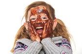 holčička s čokoládovou kryté tváří