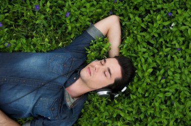 Portrait of a young man resting in the grass with eyes closed listening to music on headphones stock vector