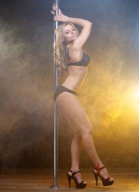 Portrait of a beautiful slim pole dancer in black lingerie