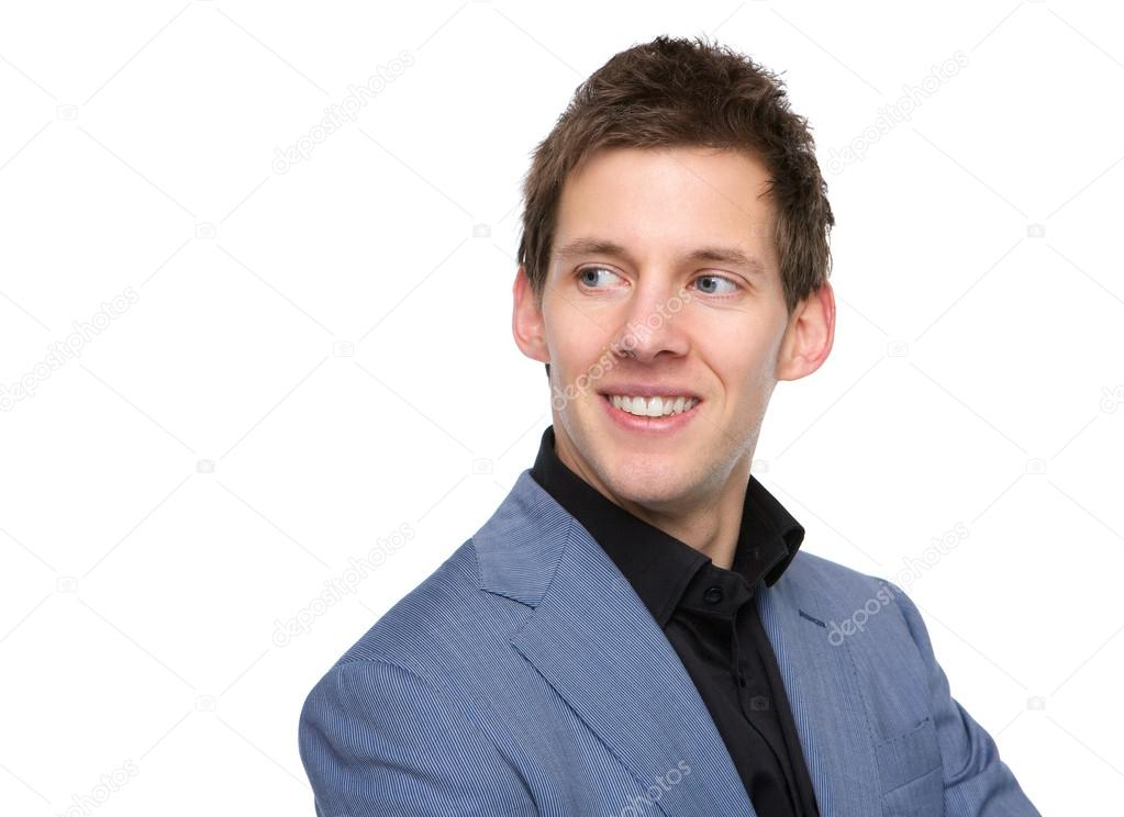 Homme Souriant jeune homme souriant et en regardant loin — photographie
