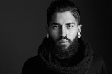 Male fashion model with beard