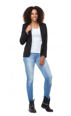 Young smiling woman in jeans