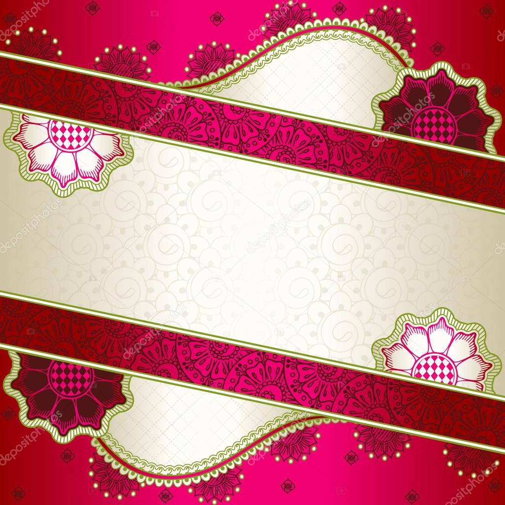 Vibrant Pink Banner Inspired By Indian Mehndi Designs Stock Vector