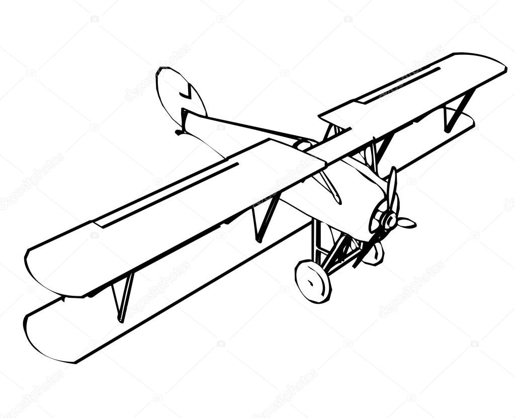 Silhouette Of Old Biplane Stock Vector
