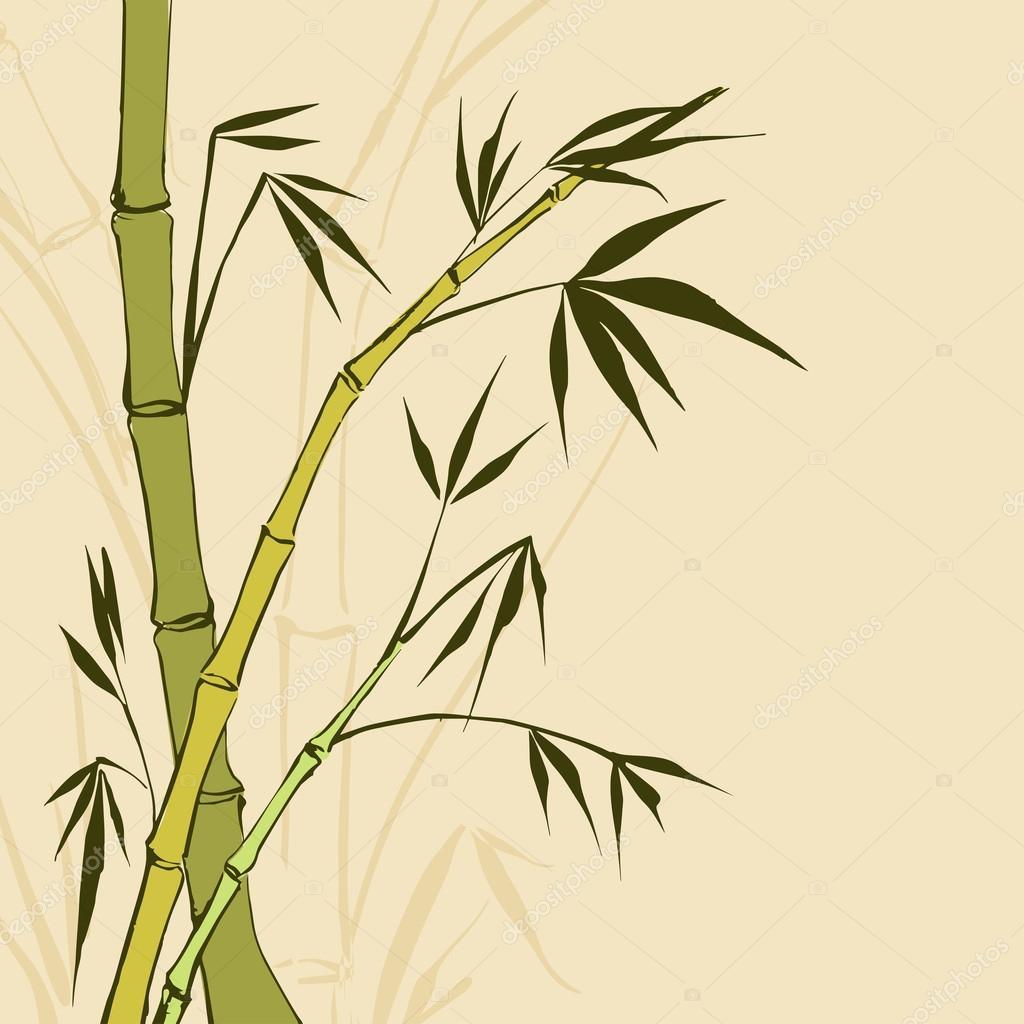 Bambus Malerei. Vector Illustration, Enthält Folien, Farbverläufe Und  Effekte U2014 Vektor Von Kotkoa