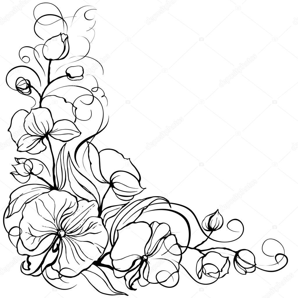 flor orquidea — Vector de stock © Kotkoa #23281230