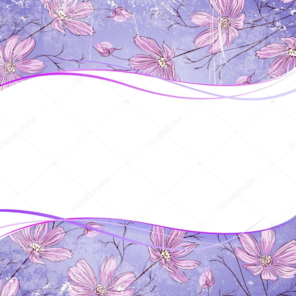 Blue flower over violet background