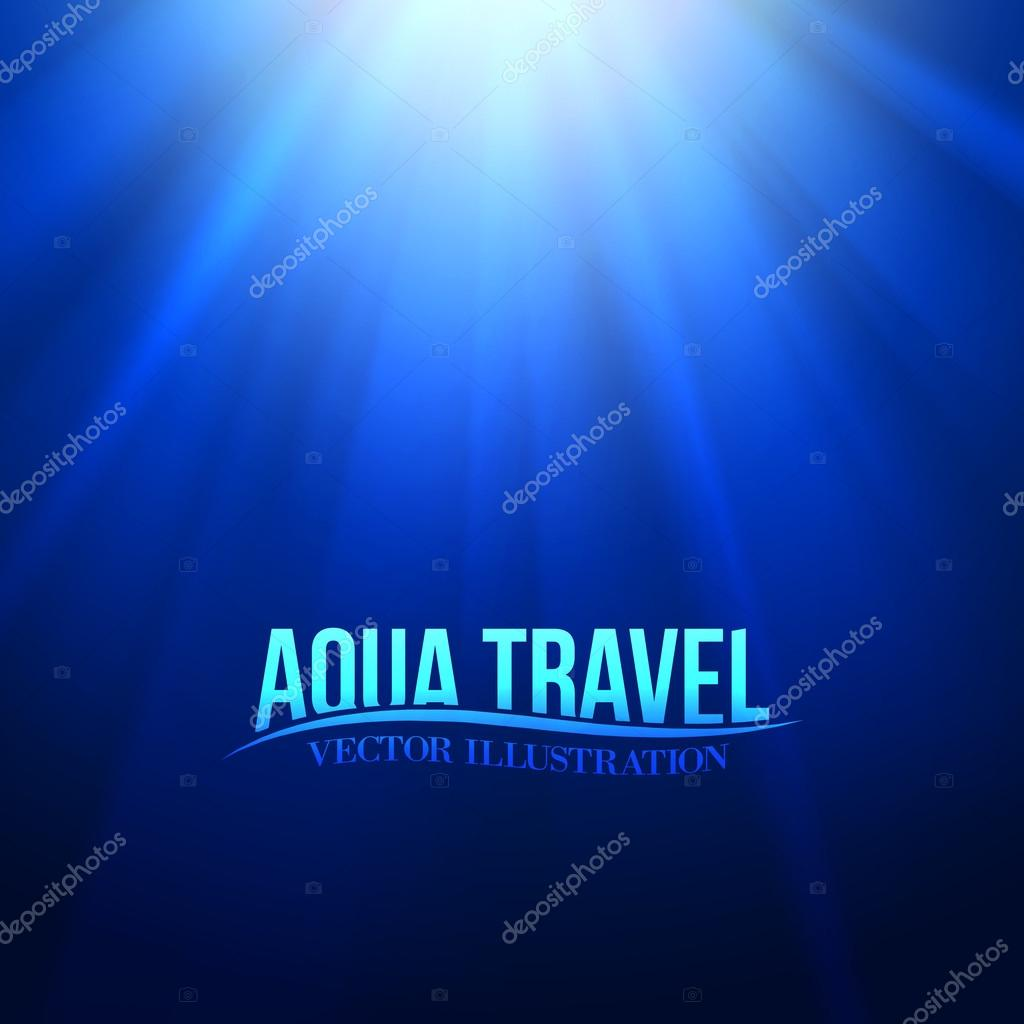 Underwater sunrays for aqua travel design.