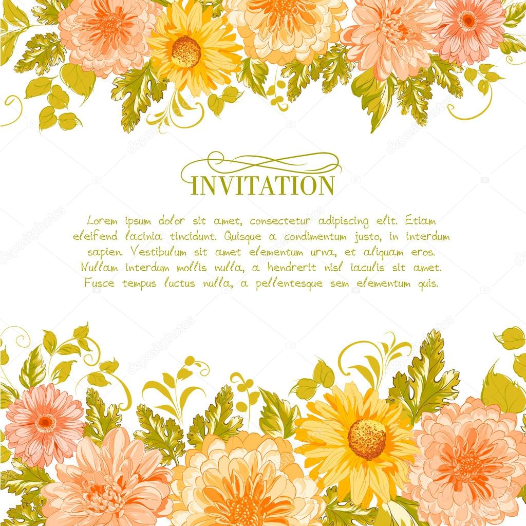 Invitation card with flowers.