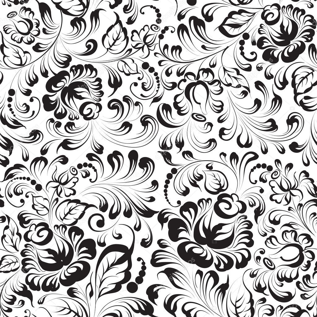 Seamless floral pattern on blue background vector