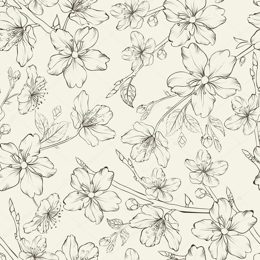 Cherry blossom seamless pattern.