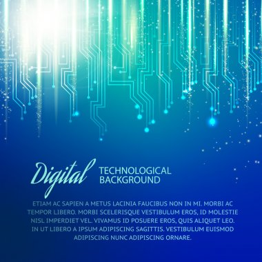 Circuit background with light effect. Vector illustration.