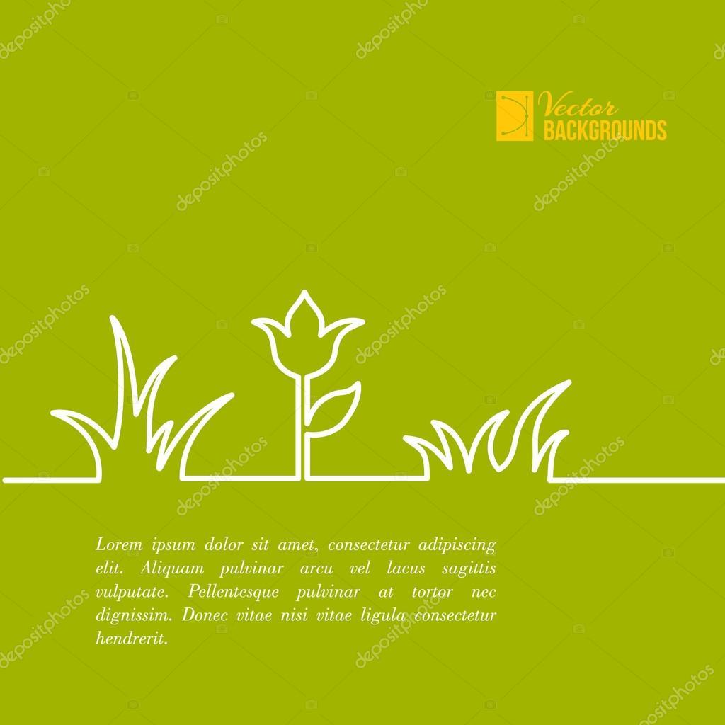 Green summer flower design.