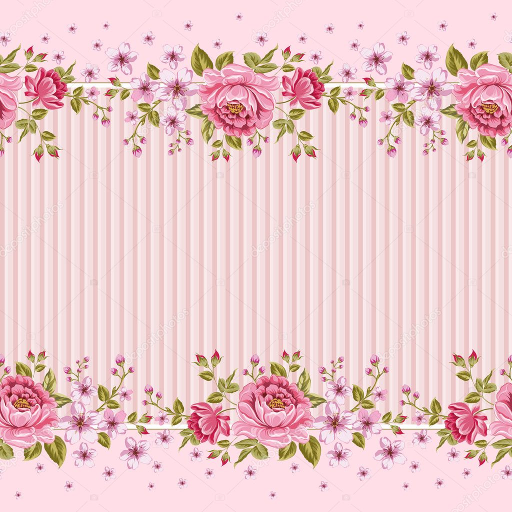 Seamless wallpaper pattern with of pink roses.