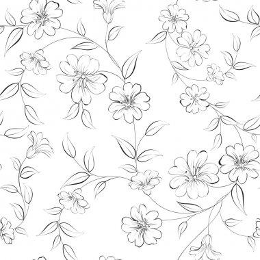 Elegant monochrome flowers fabric.