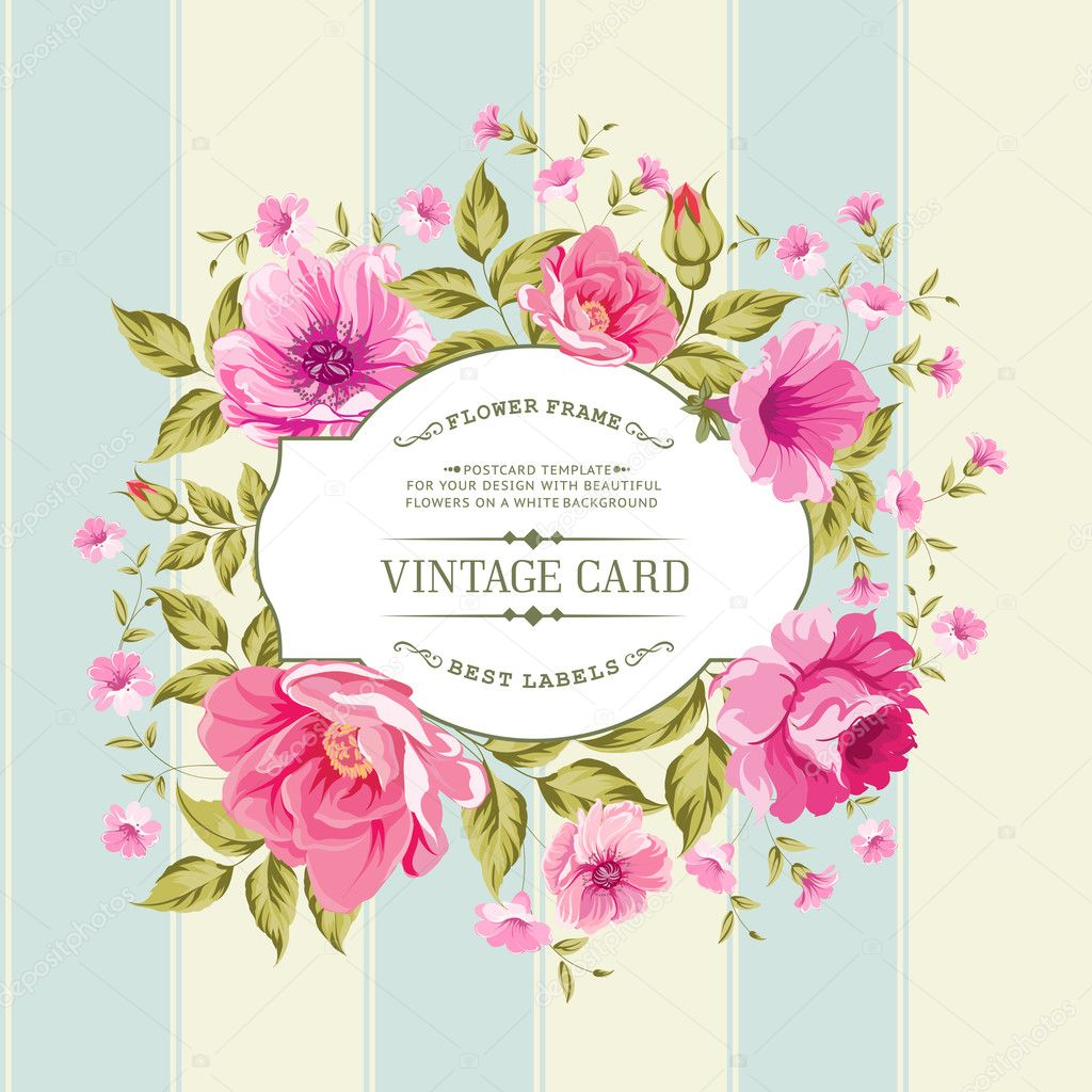 Flower label on the vintage card.